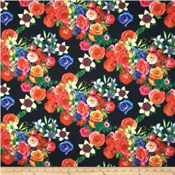 Quilt Illusions Double Knit Floral Black Fabric