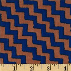 Boutique Peachskin Chevron Brown/Blue
