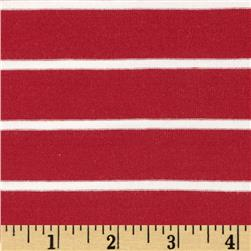 Stretch Bamboo Rayon Mariner Jersey Knit Stripe Maroon/Off