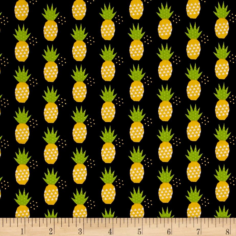 riley blake fresh market pineapple black   discount