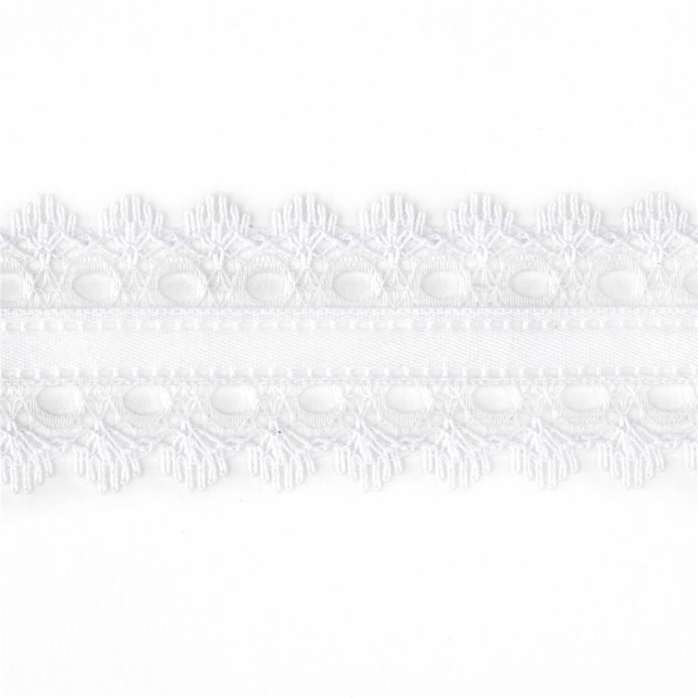 "1 1/2"" White Lace Satin Center Ribbon White"