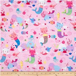 Timeless Treasures Purr-Maids Kitty Mermaids Pink