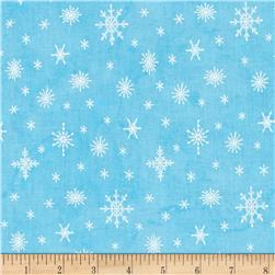 Western Denim & Dirt Flaky Friends Snowflakes Light Blue