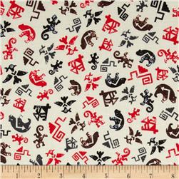 Kanvas Spirit Symbols Cream/Red Fabric