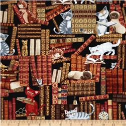 Timeless Treasures Cats In The Library Multi