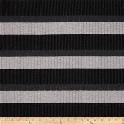Onyx Ponte Knit Stripe Grey/Black/Charcoal Fabric