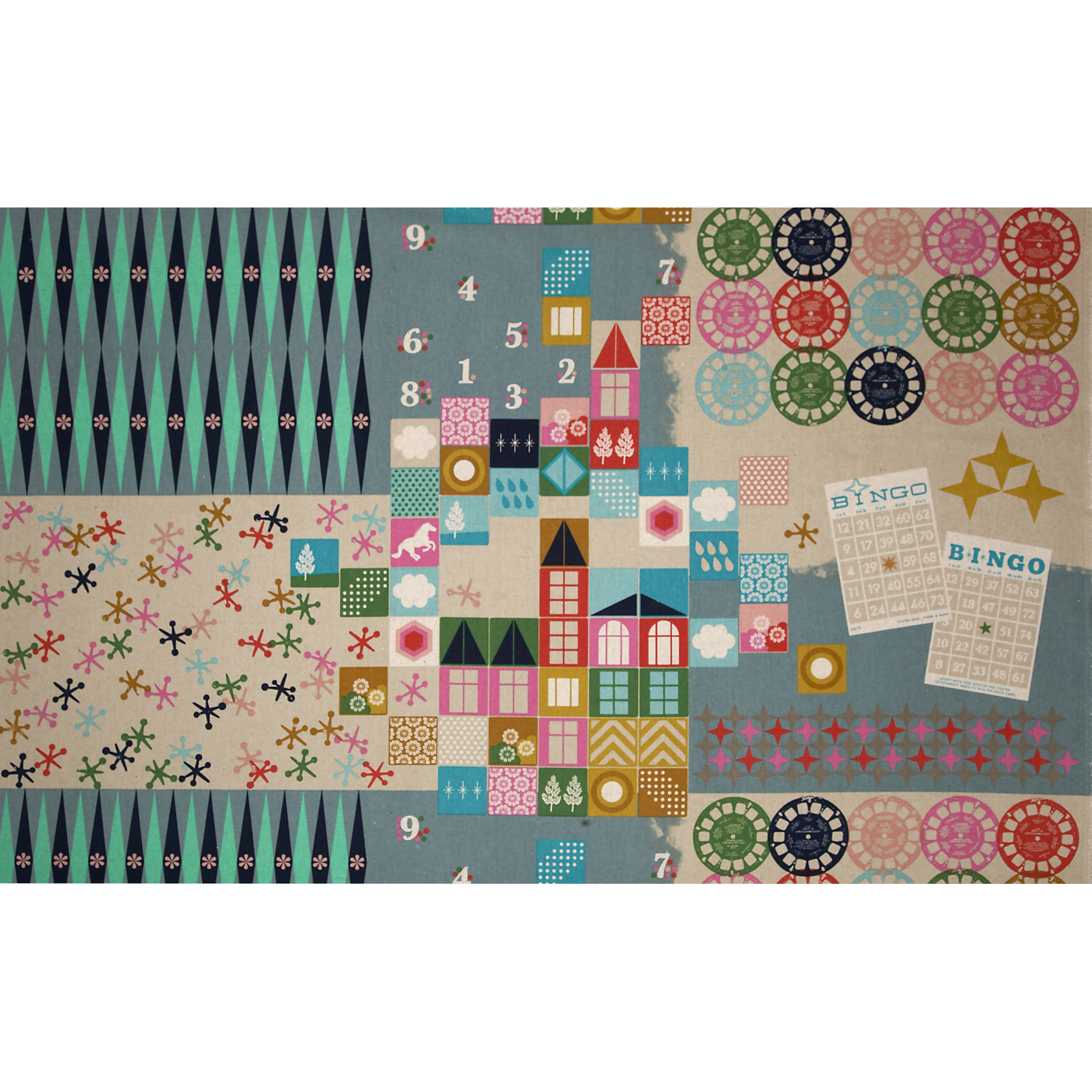 Image of Cotton + Steel Playful Canvas Playroom Teal Fabric