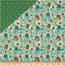 Who's Who Owls Double Sided Quilted Blue Fabric