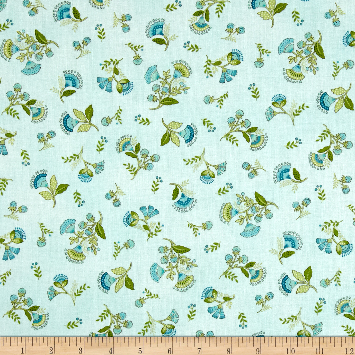 Timeless Treasures Emma Blue Tossed Calico Aqua Fabric