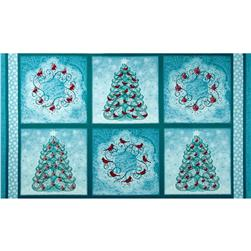 Winter Enchantment Xmas Trees & Wreaths Panel Teal
