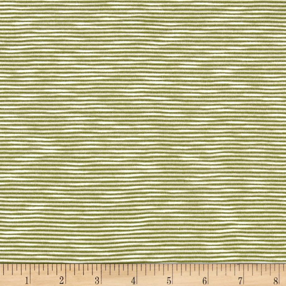 Jersey Knit Lime Vertical Mini Stripes on Ivory