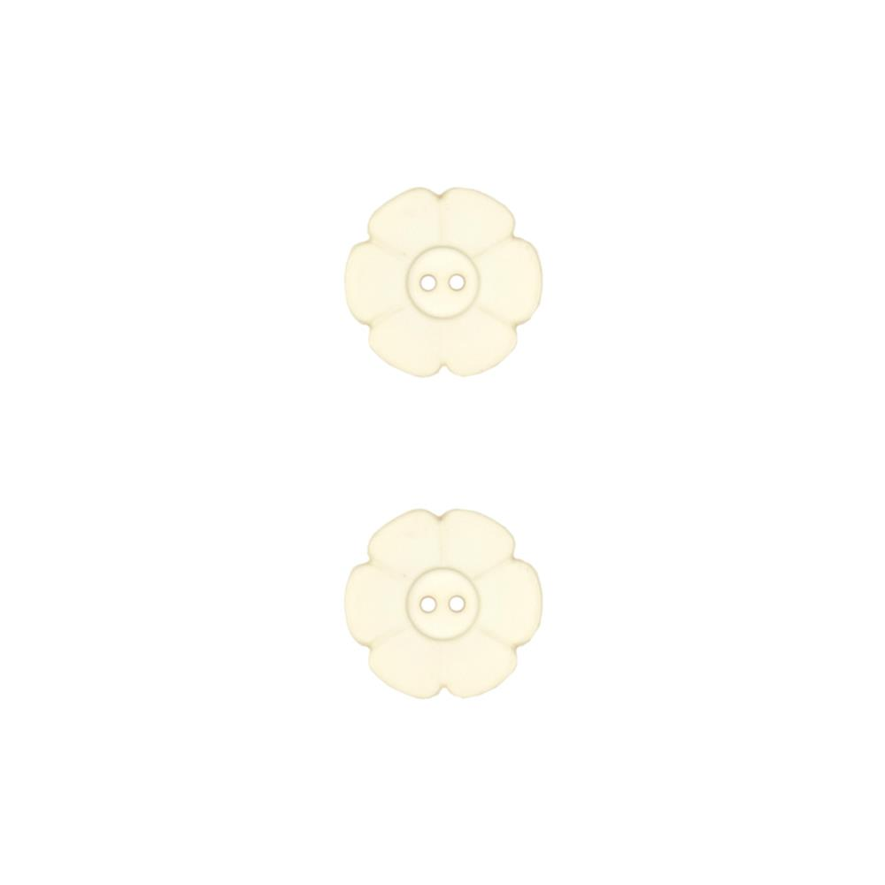 "Dill Novelty Button 1-1/8"" Flower Beige"
