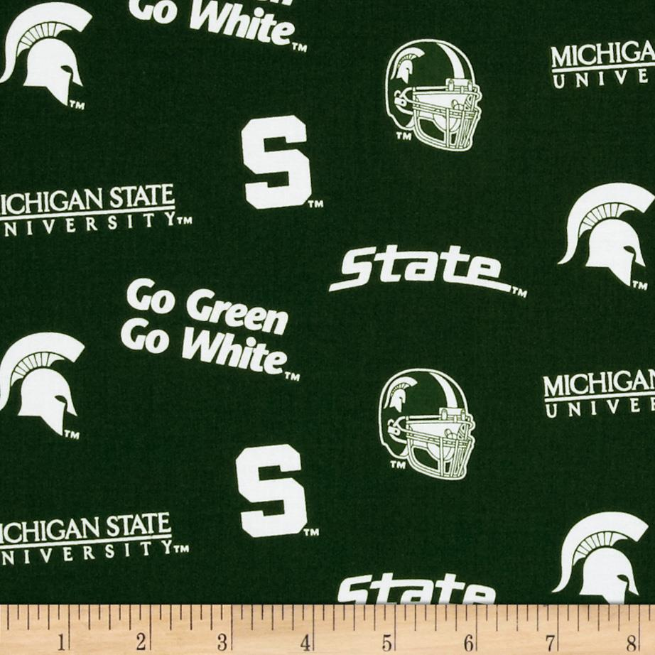 Collegiate Cotton Broadcloth Michigan State University Allover