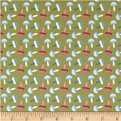 Fabric Freedom Woodland Animals Little Mushrooms Green
