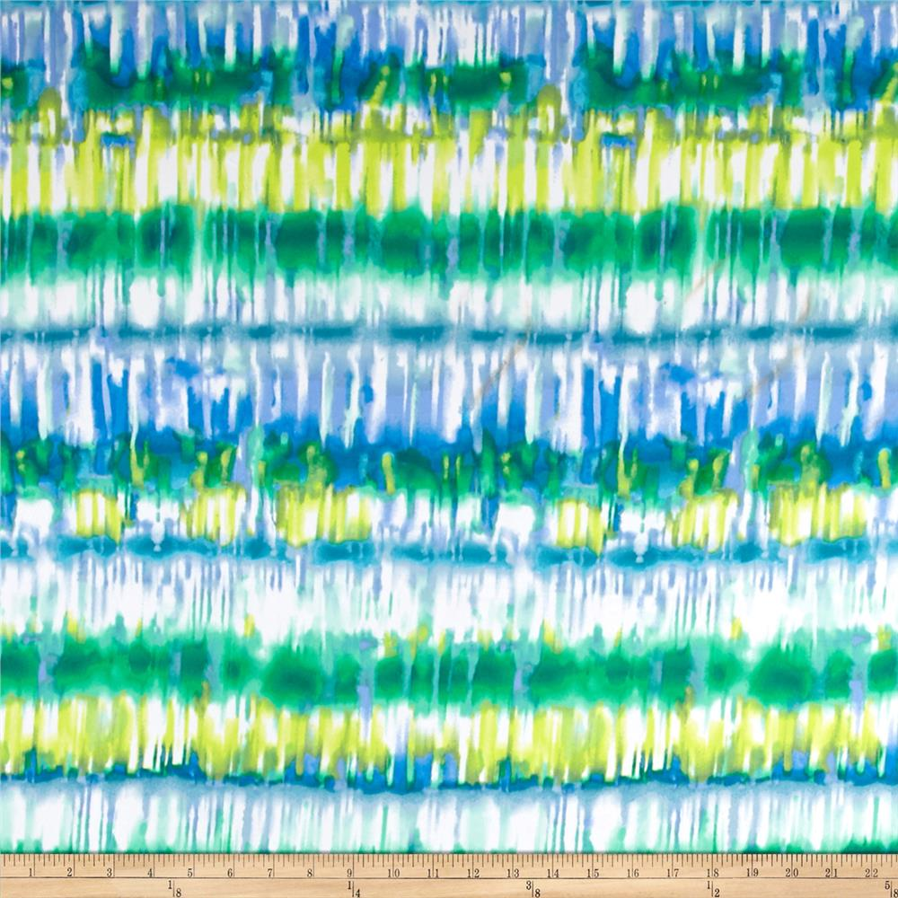Stretch ITY Knit Water Color Print Blue/White/Multi
