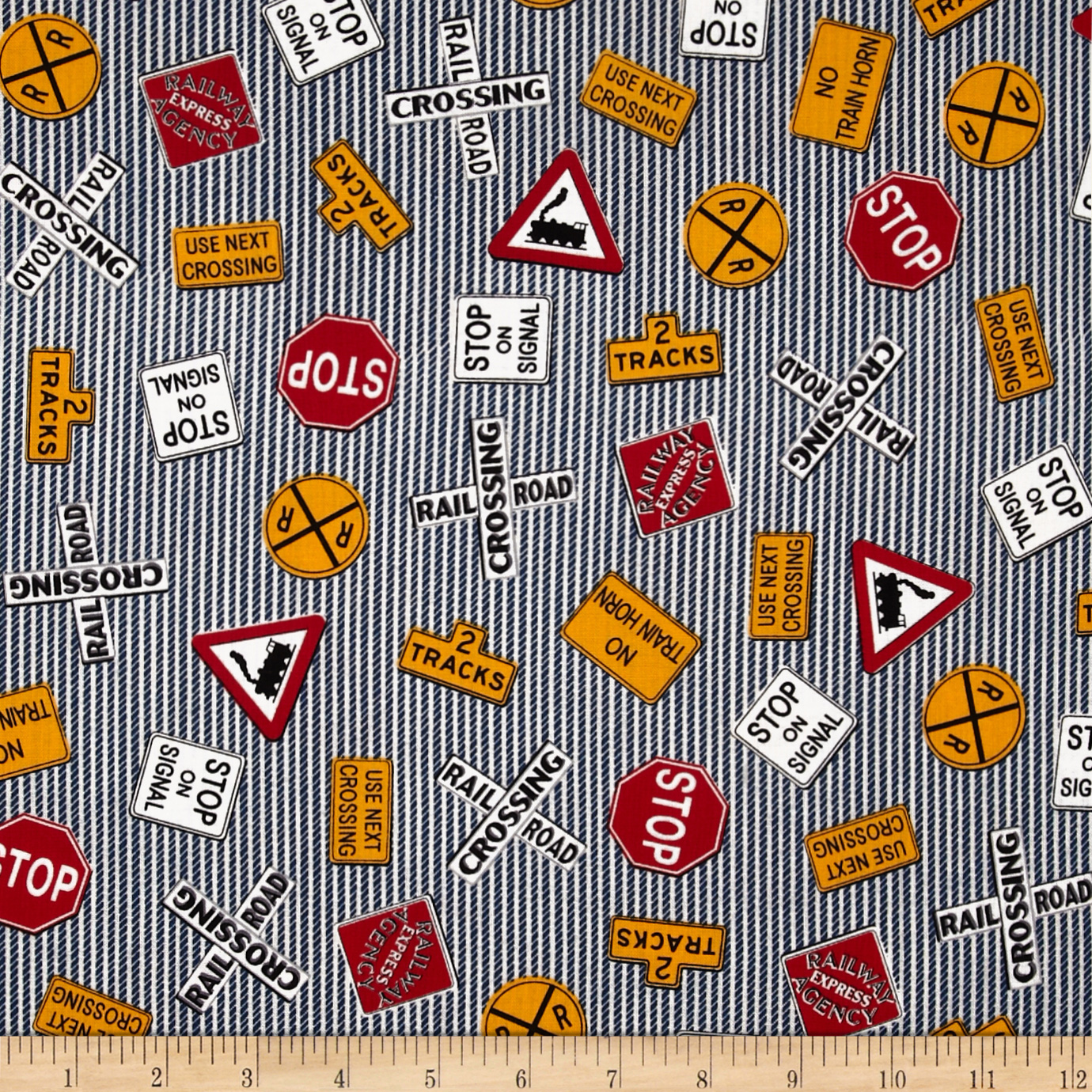All Aboard Railroad Signs Denim Fabric