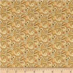 Birds of a Feather Multi-Color Paisley Tan Fabric