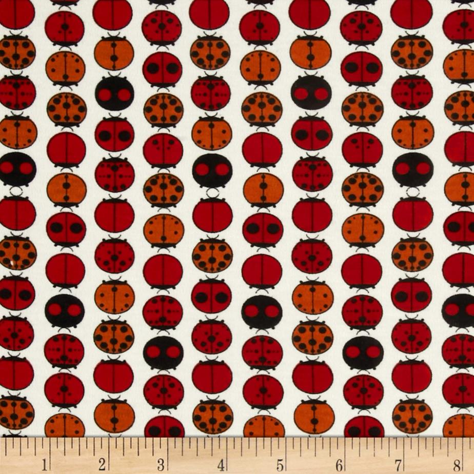 Birch Organic Interlock Knit Charley Harper Ladybugs Red