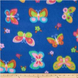 Polar Fleece Print Butterflies Royal Blue
