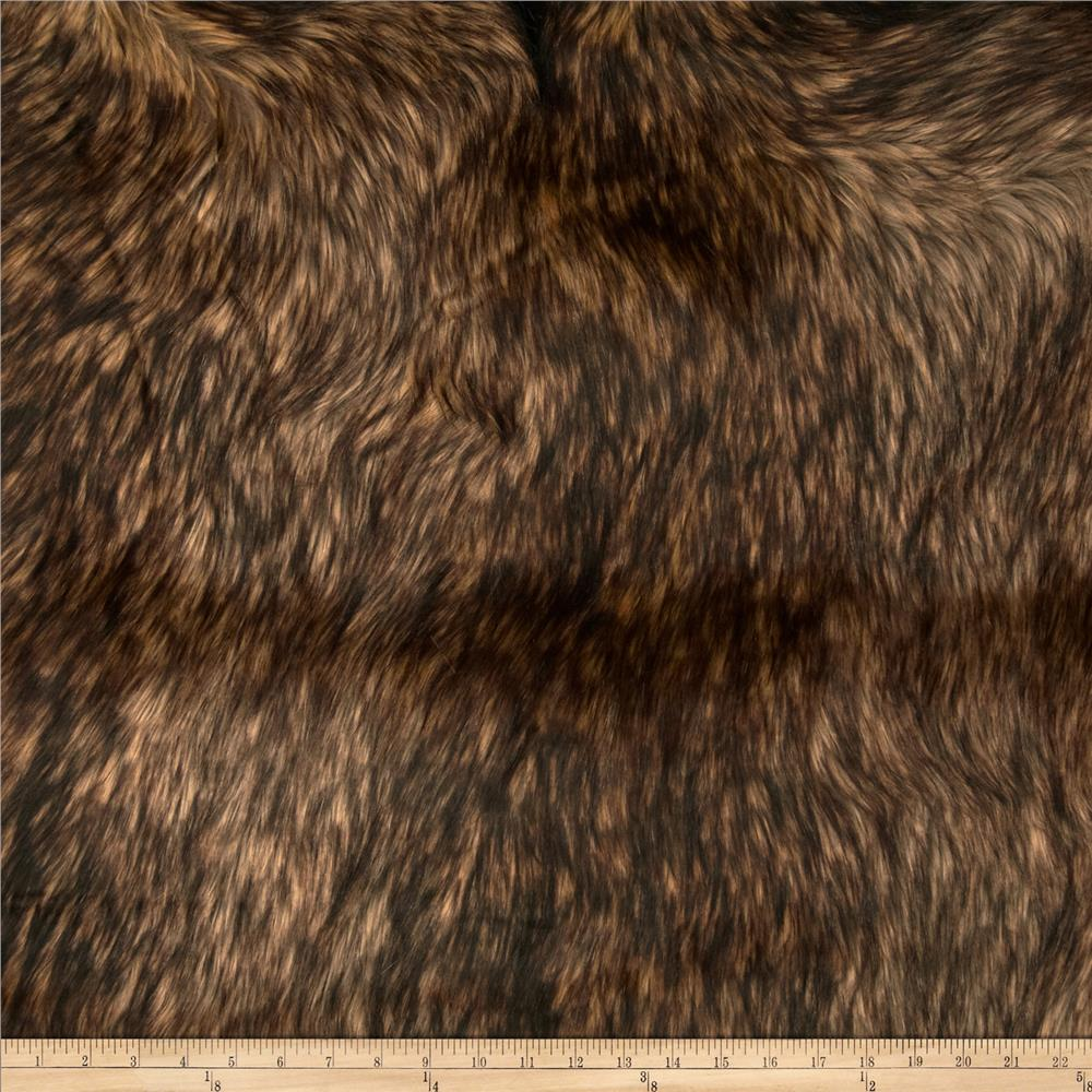 Faux Fur Golden Wolf Gold/Brown