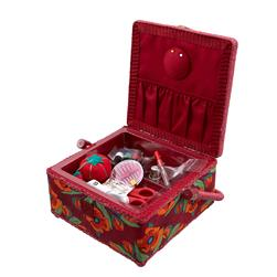 Sewing Basket & Basic Notions Kit Burgundy