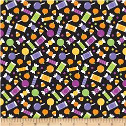 Riley Blake Halloween Parade Halloween Candy Black Fabric