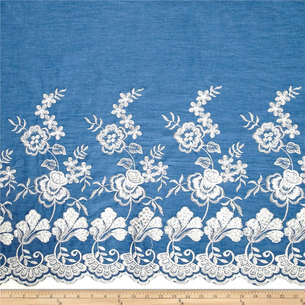 Telio denim embroidered single border garden white for Apparel fabric