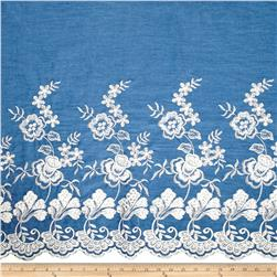 Telio Denim Embroidered Single Border Garden White