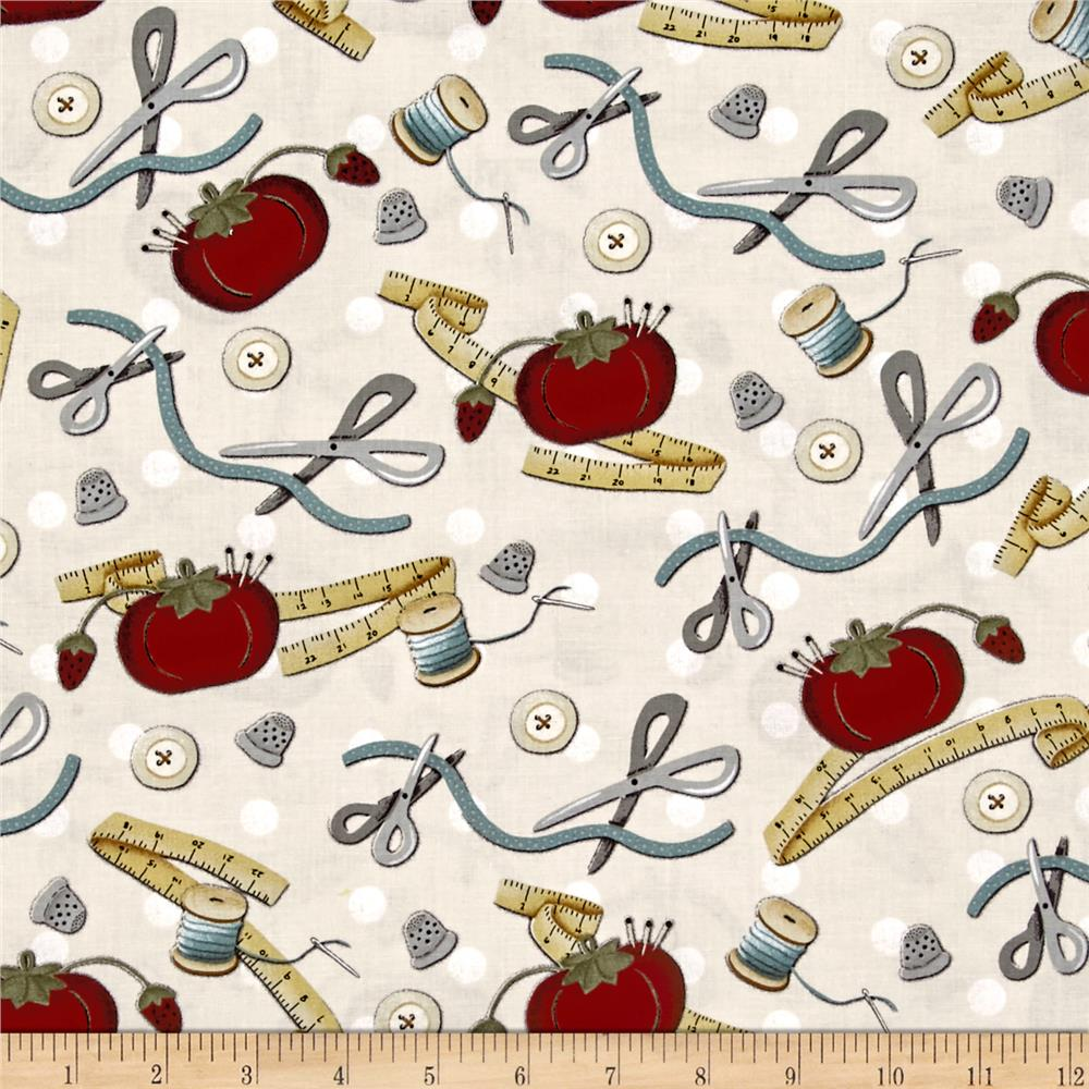 My sewing room sewing motifs ecru discount designer for Cheap sewing fabric