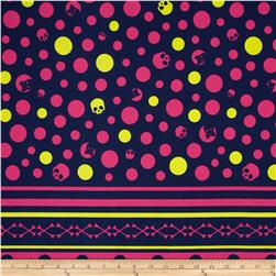 Kokka Skull Dots Double-Border Stripe Blue Fabric