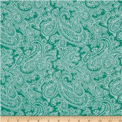 Palm Court Large Paisley Teal Fabric