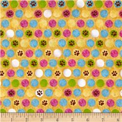 Kozy Kitties Dots & Paws Yellow