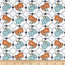 Riley Blake Vintage Happy Floral Orange Fabric
