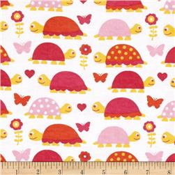 Alpine Flannel Turtles Pink Fabric