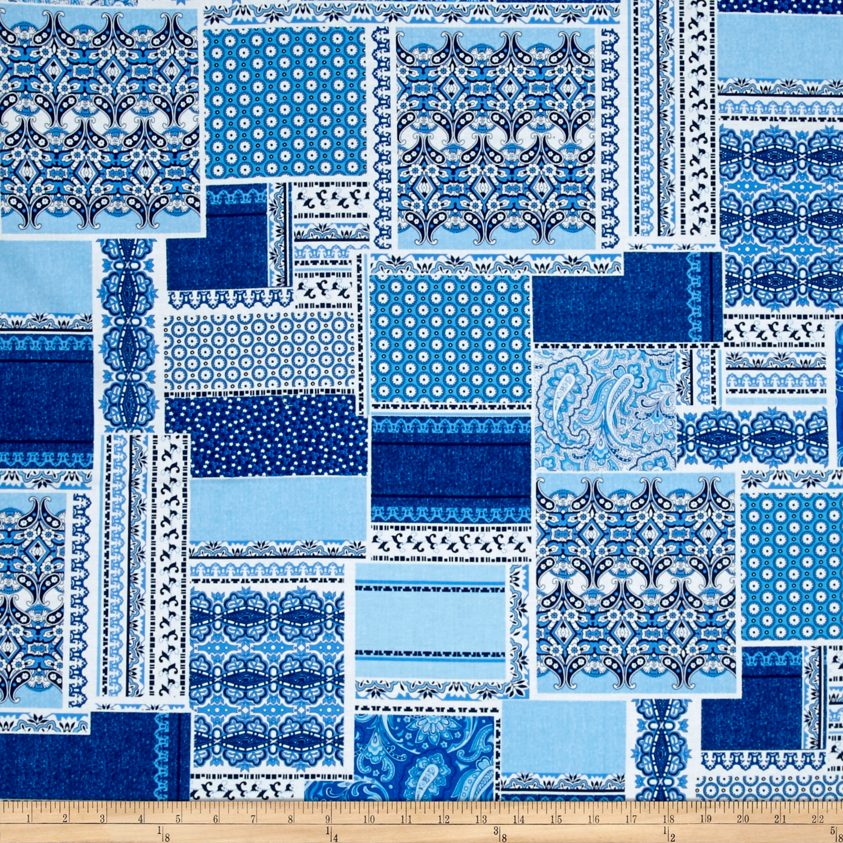 Let Freedom Ring Patchwork Blue/White Fabric by Henry Glass in USA