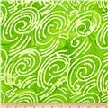 Indian Batik Scroll Green/Lemon