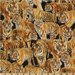 Living Wonders Tigers Black/Orange Fabric
