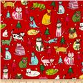 Alexander Henry Christmas Time Jingle Cats Red