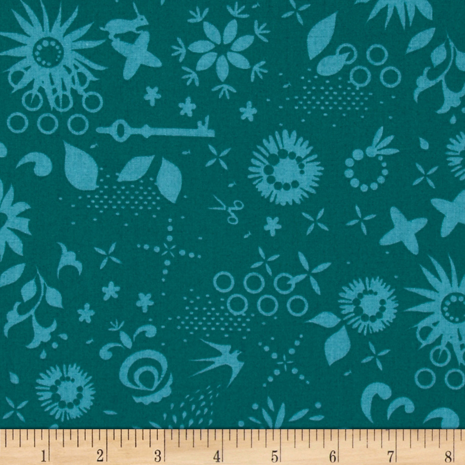 Sun Prints Corsage Ships Teal Fabric