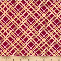 Gramercy Diagonal Square Dark Pink Fabric