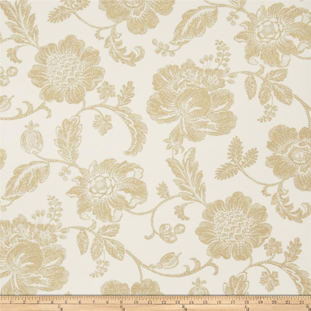 Fabricut Greta Wallpaper Ivory Gold (Double Roll)