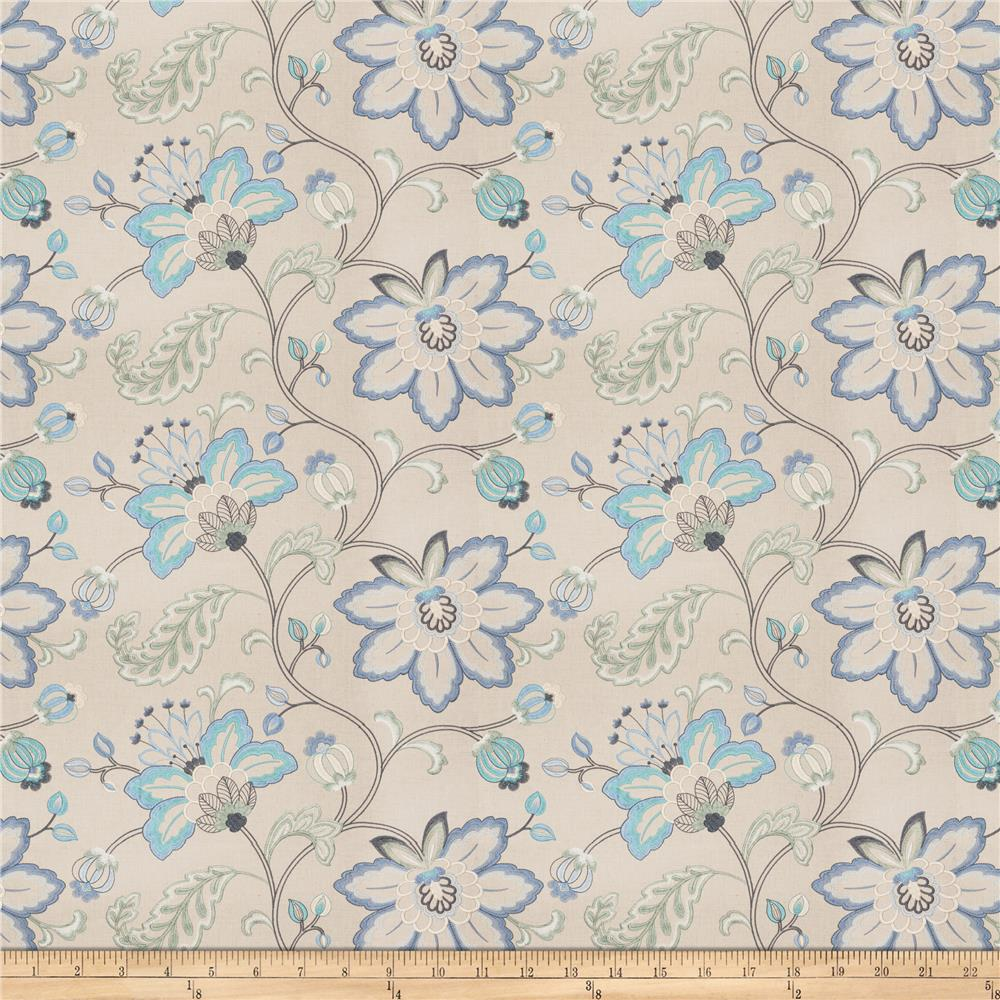 Fabricut Bettino Floral Embroidered Linen Blend Lagoon