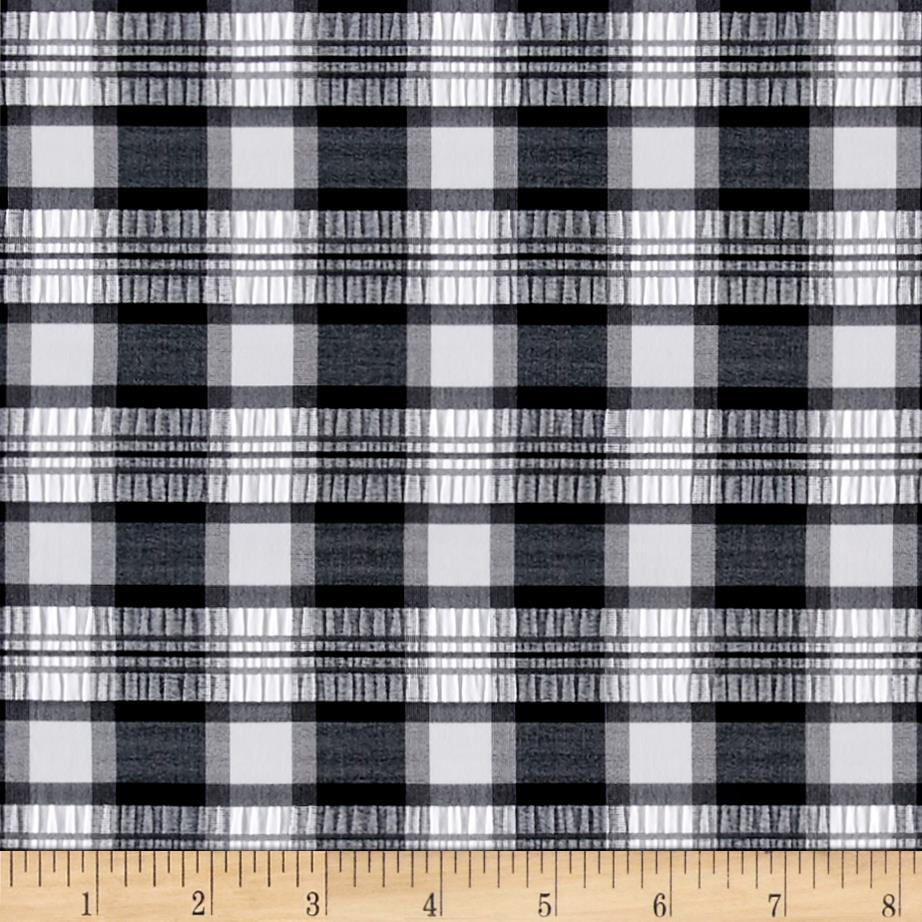 Stretch Seersucker Gingham Plaid Black/White