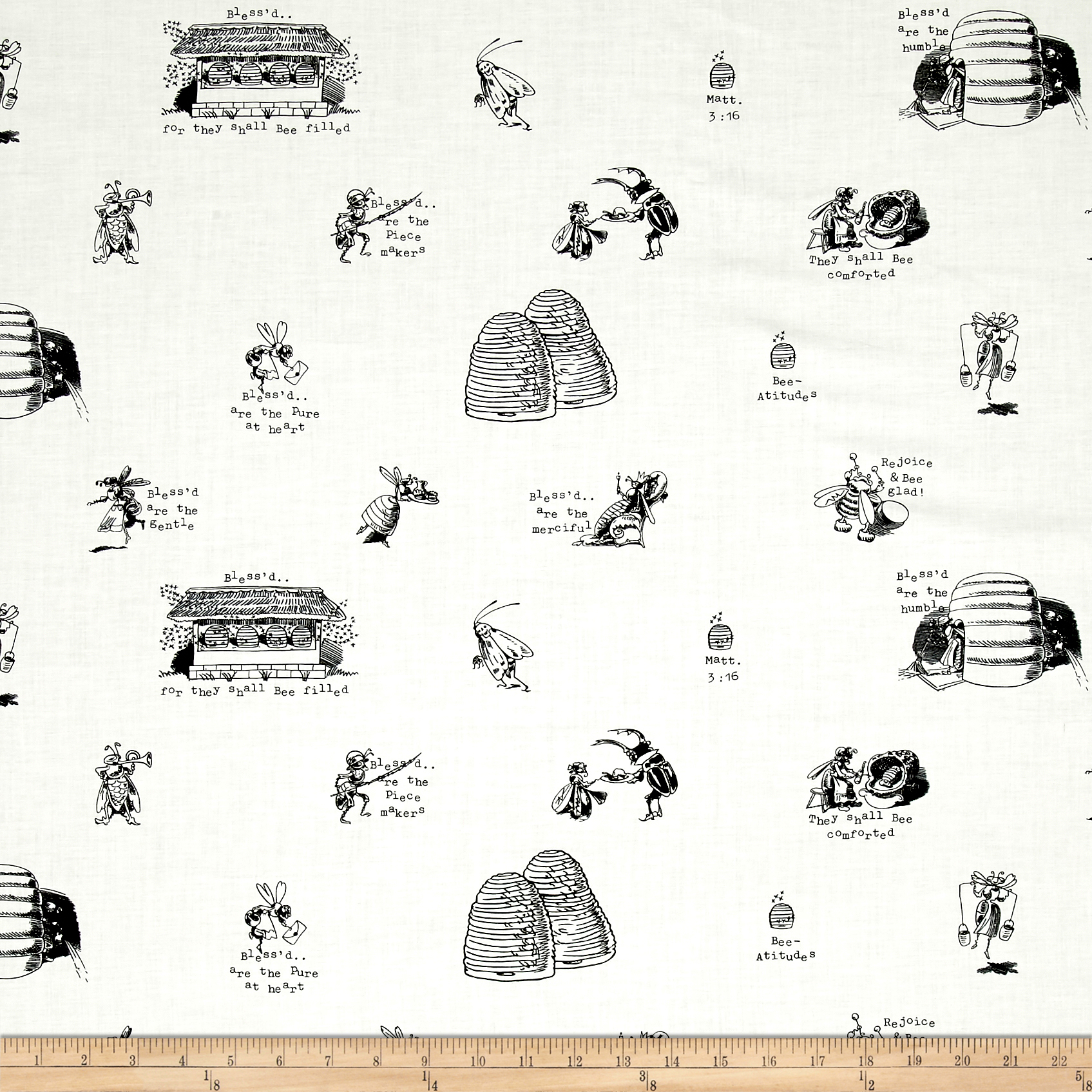 Tidings Of Great Joy Bee-Attitudes Allover Ecru Fabric by Quilting Treasures in USA