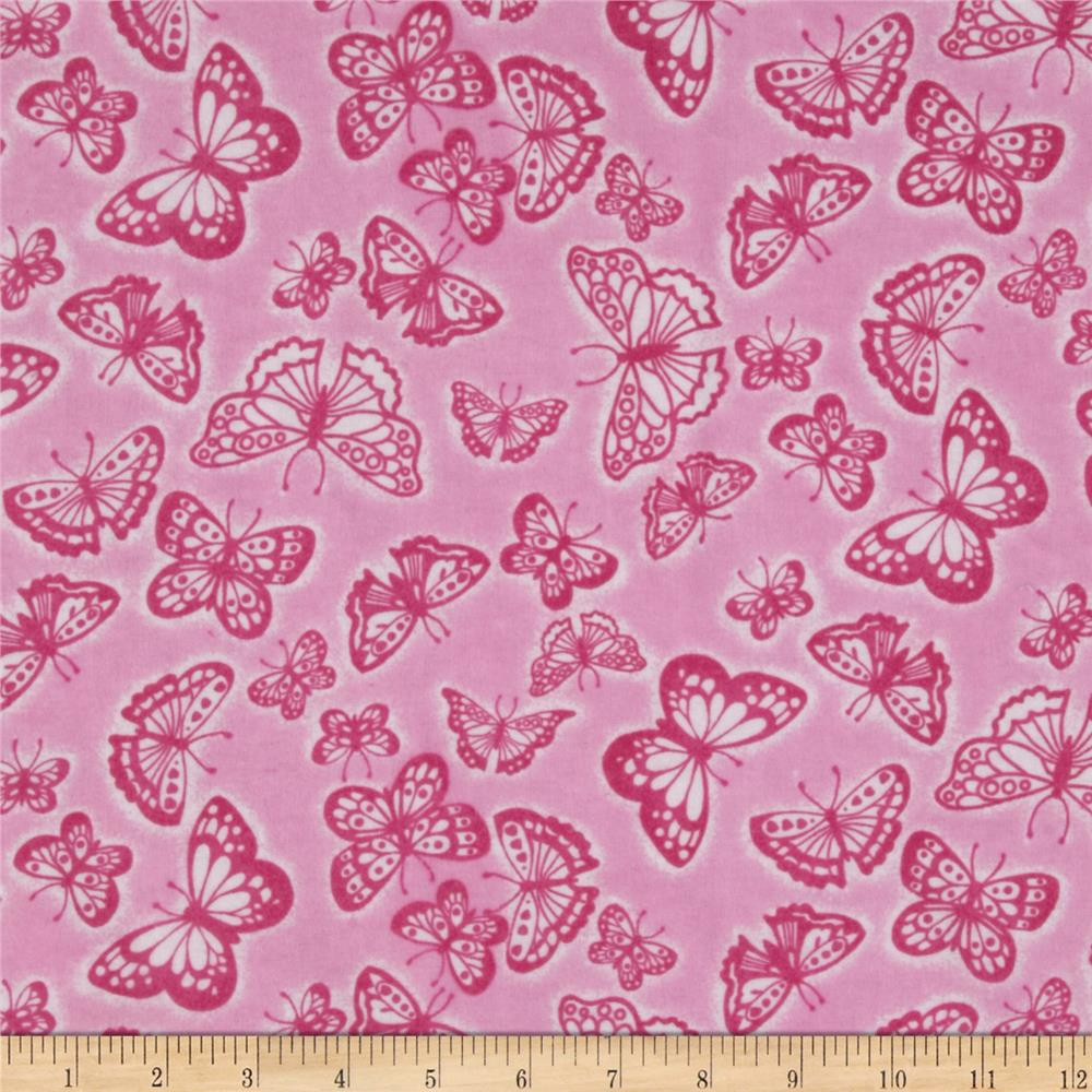 Flannel Tossed Butterflies Pink