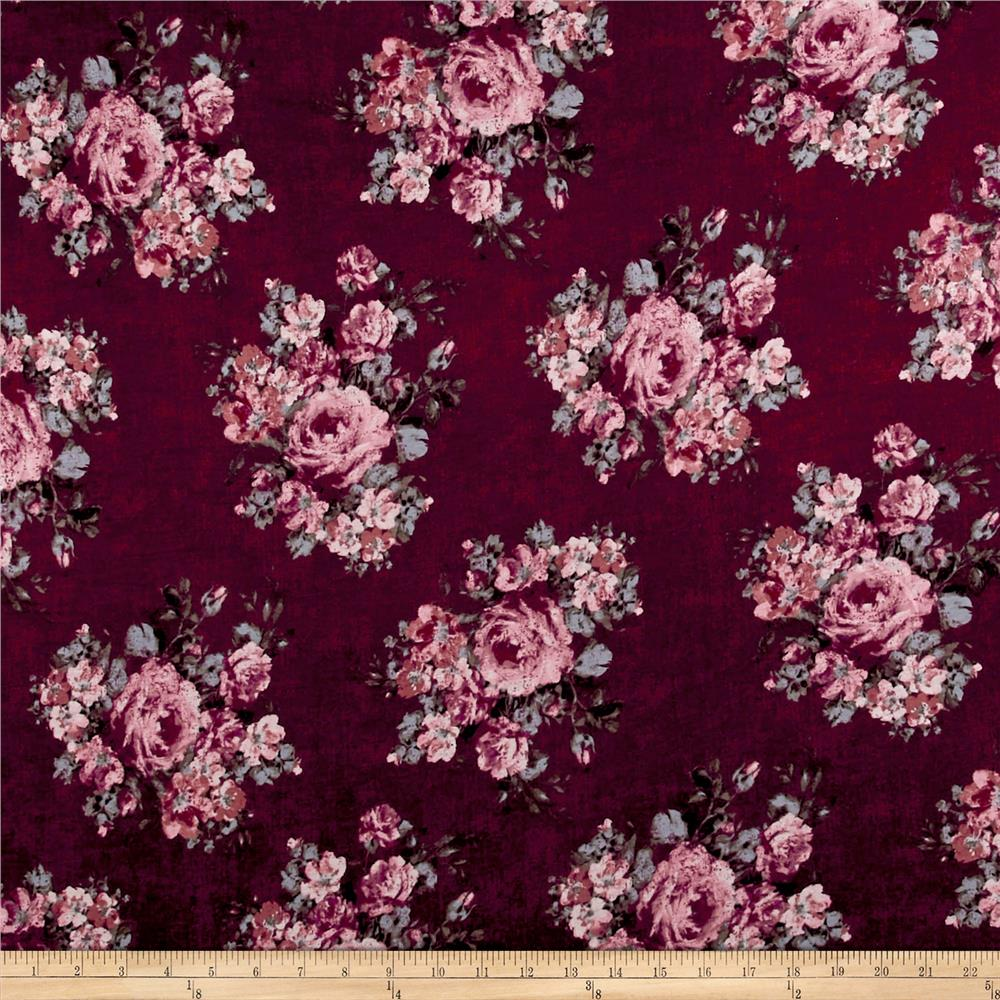 Rayon Spandex Jersey Knit Distressed Roses Mauve on Burgundy Fabric
