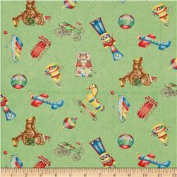 Christmas Tossed Toys Green Fabric