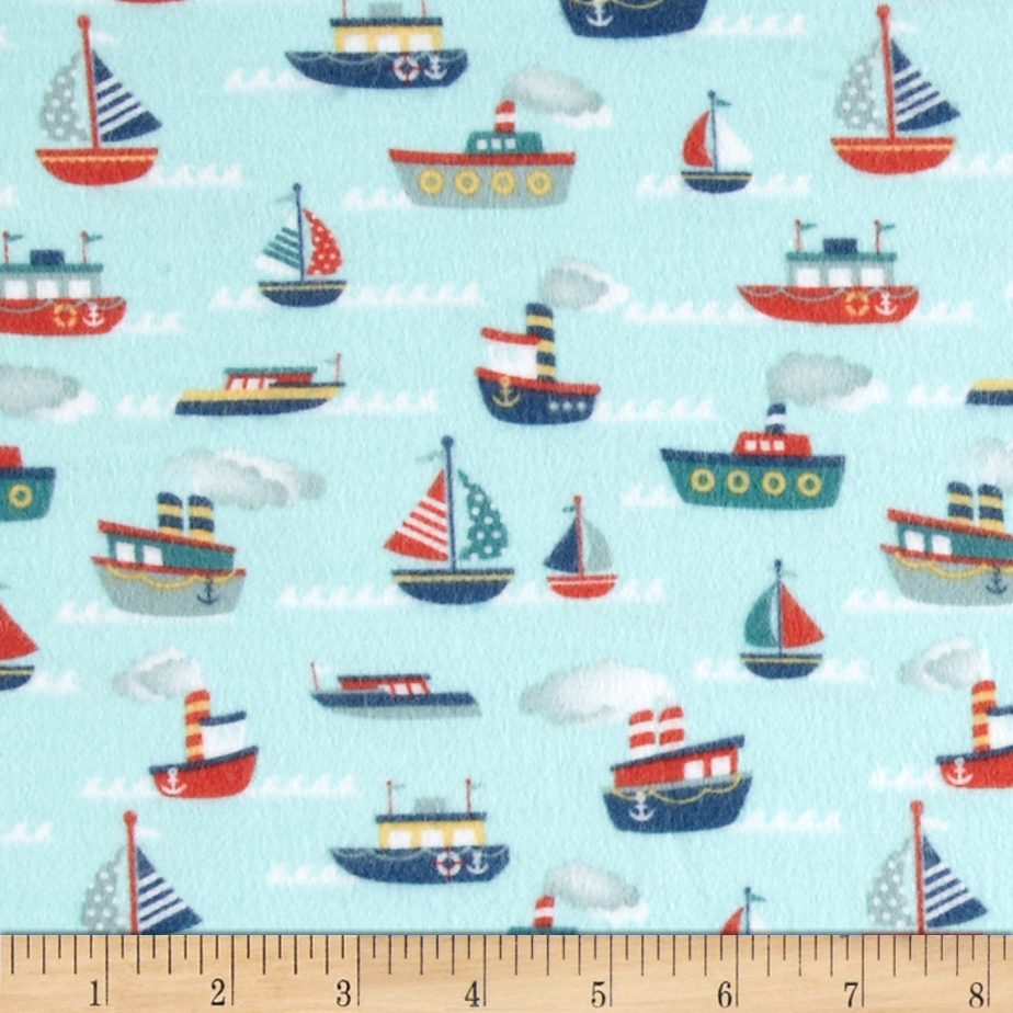 Riley Blake Fly Aweigh Flannel Boat Blue Fabric