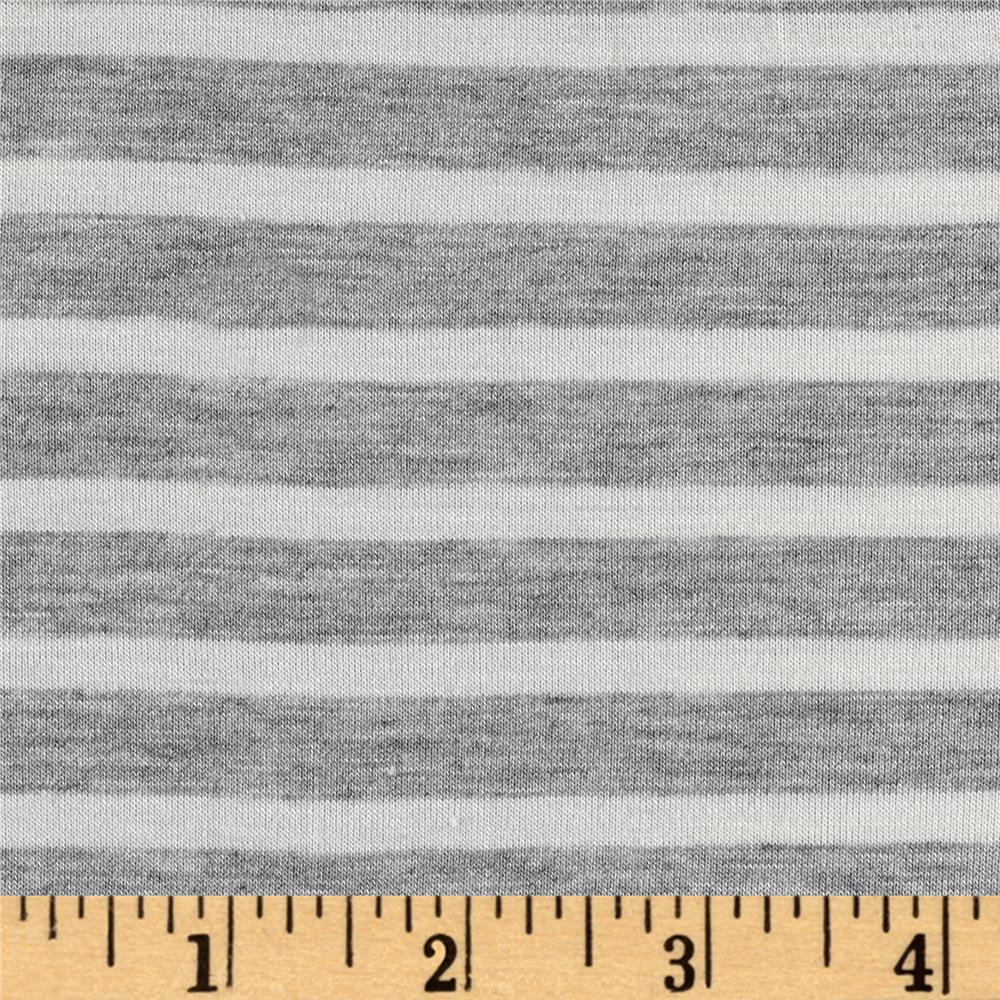 Rayon Spandex 1/2 X 1/4 Yarn Dyed Stripes Jersey Knit  Light Heather Gray/Ivory