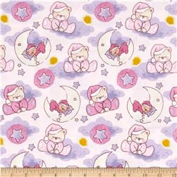 Bedtime Bears Sleepy Bear Dreams Flannel Pink/Purple